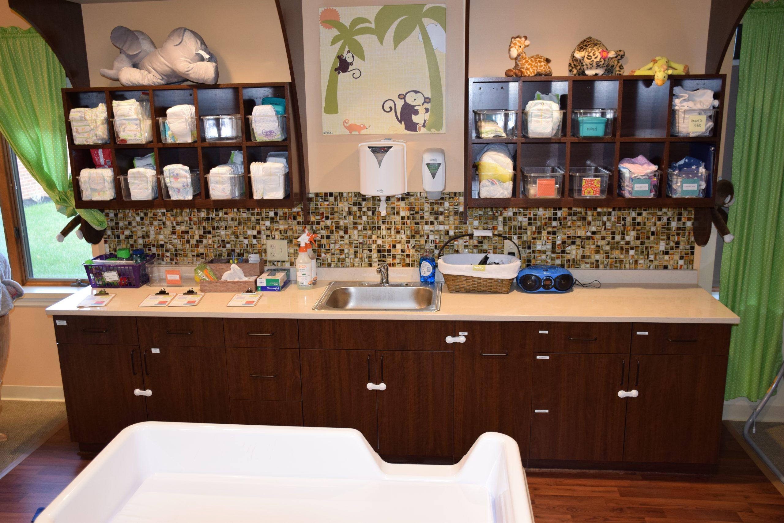 Pediatric room's wash, diaper, and storage area